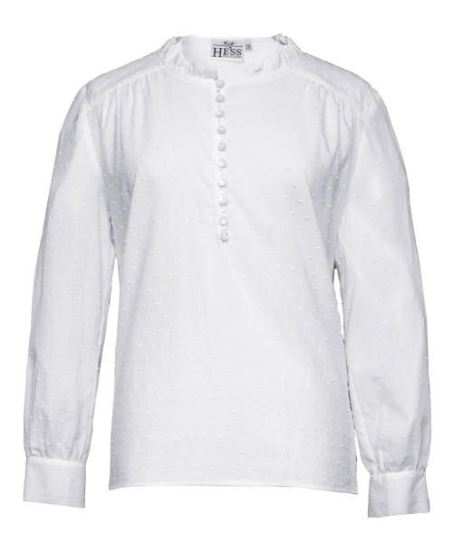 Sommerliche weiße Hemdbluse gepünktelt langarm
