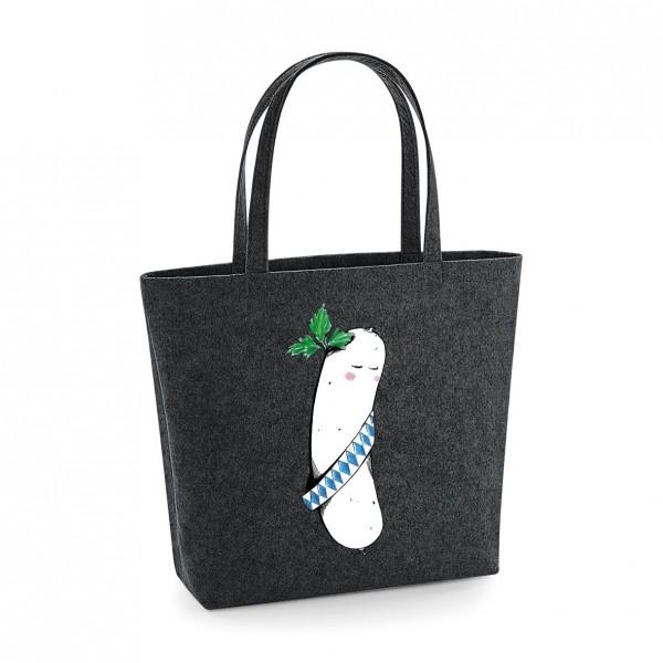 Filz Tasche grau | Einkaufstasche | Motiv: Bavarian Beauty Opitz