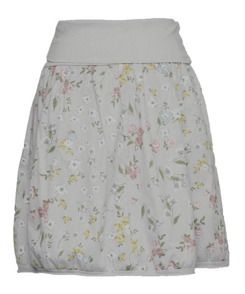 Ballonrock | Baumwolle Blumenprint | Bund dehnbar 66-110cm | Farbe Hellgrau-geblümt