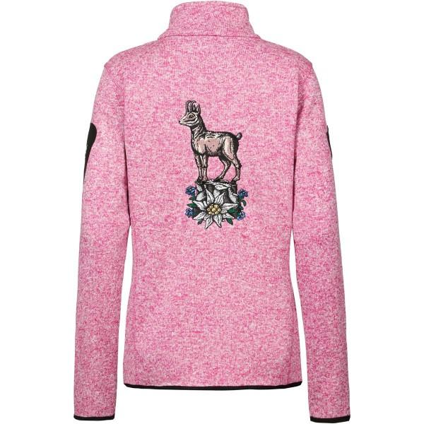 Stehkragenjacke Damen rosa | Strickfleece | Motiv: Gamserl