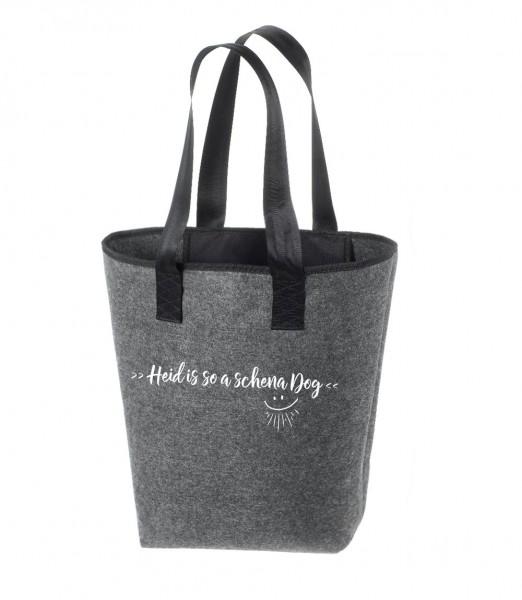 Einkaufstasche Filz groß grau Shopper | Hochwertig | 44x26cm Motiv Schena Dog