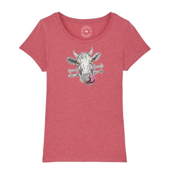 Damen Rundhals T-Shirt   Fair Wear   BIO   Motiv: Muh-Kuh