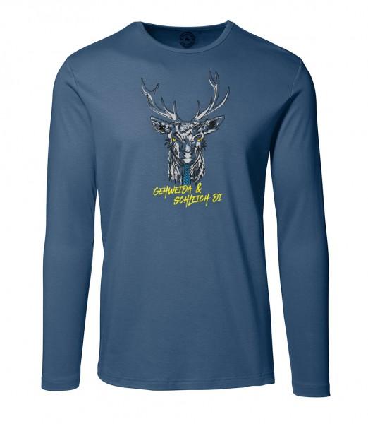Herren Rundhals Shirt | Langarm – Interlock Jersey Motiv: Gehweida