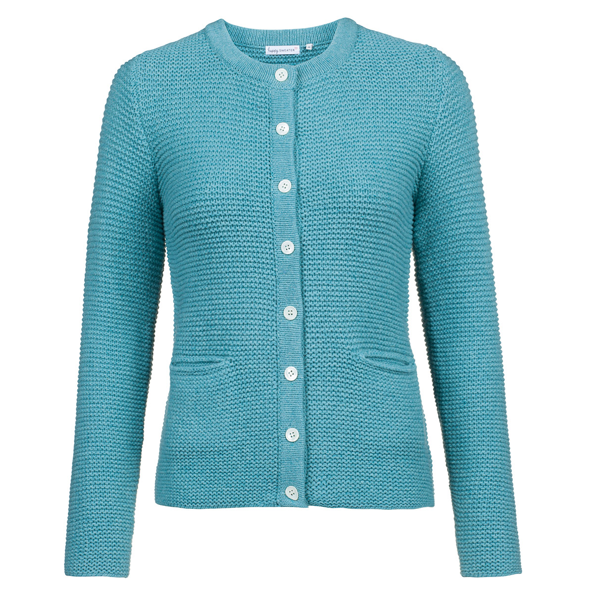 Fabrik großer Abverkauf hohe Qualität Strickjacke Damen I Handstickerei Farbe Türkis I Model: Lulu