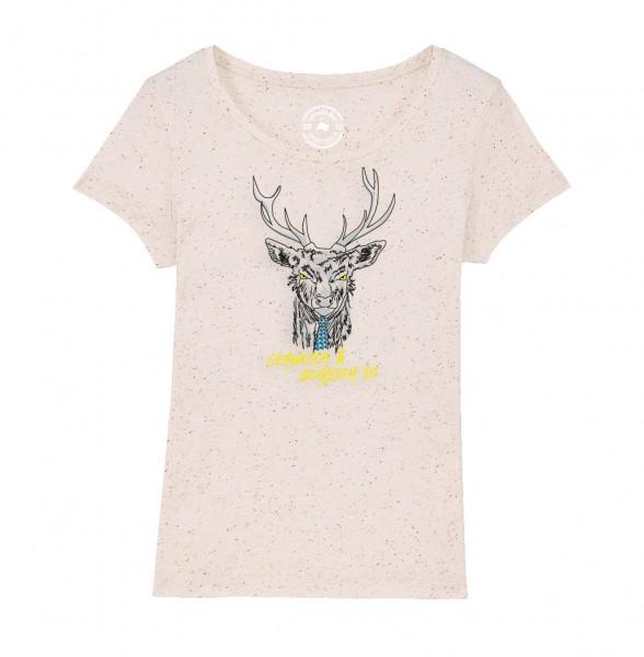 Damen Rundhals T-Shirt   Fair Wear   BIO   Motiv: Gehweida