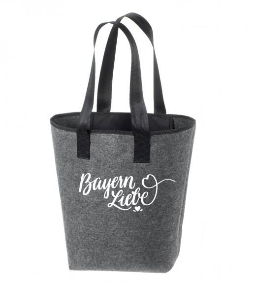 Einkaufstasche Filz groß grau Shopper   Hochwertig   44x26cm Motiv Bayern Liebe