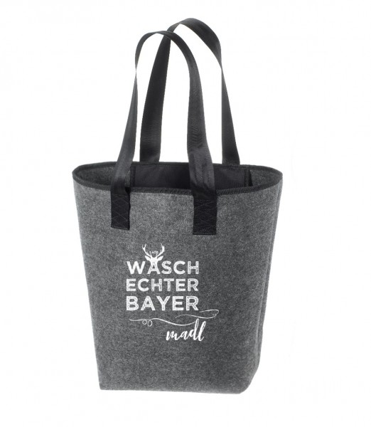 Einkaufstasche Filz groß grau Shopper | Hochwertig | 44x26cm Motiv Waschechterbayer Madl