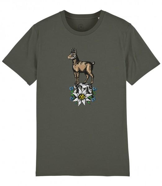 Trachten Shirt Olive Motiv Gams