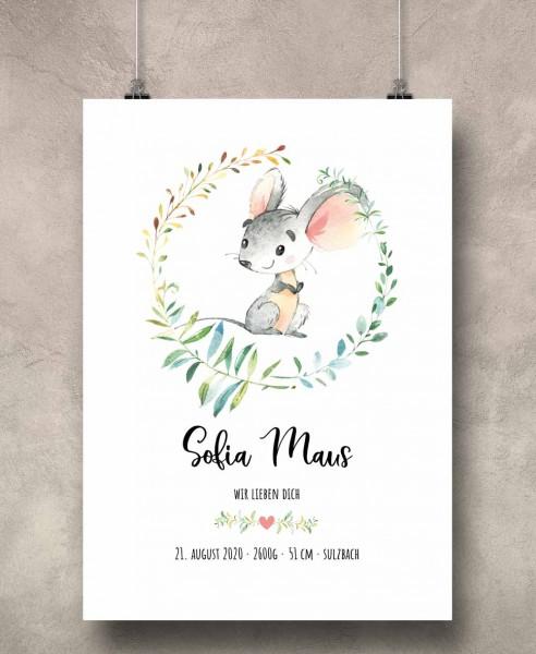 Geburtsposter Motiv: Maus (personalisiert) 30x40cm Baby-Geschenk | Taufe | Geburtstag