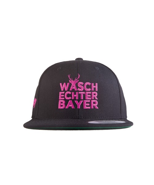 "Snapback Caps Flexfit ""Waschechter Bayer"" schwarz-pink"