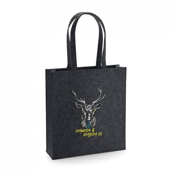 Filz Tasche grau | Einkaufstasche | Motiv: Gehweida & Schleich Di