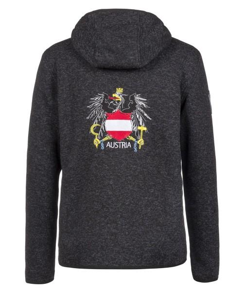 Jacke Herren mit Kapuze | Strickfleece | bestickt | Motiv: Österreichisches Wappen