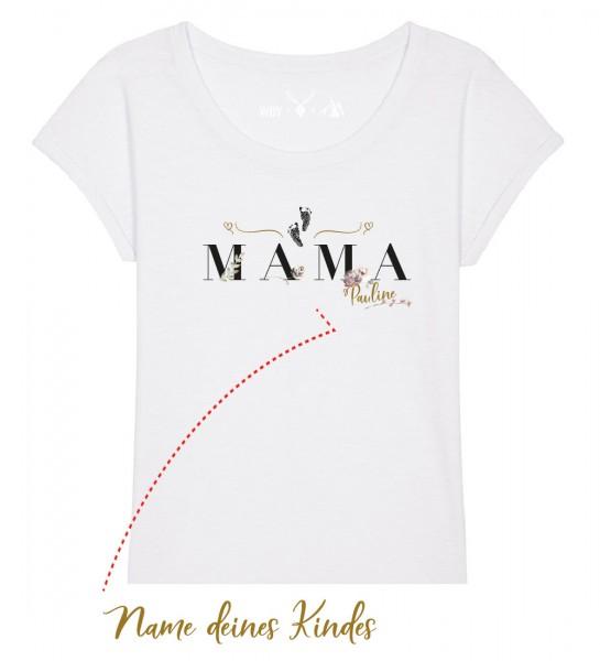 Geburts-Shirt personalisiert Name des Kindes   Fair Wear   BIO   Motiv: Mama Floral