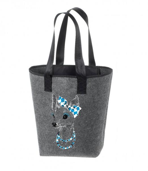 Einkaufstasche Filz groß grau Shopper | Hochwertig | 44x26cm Motiv Boarischer Bixn