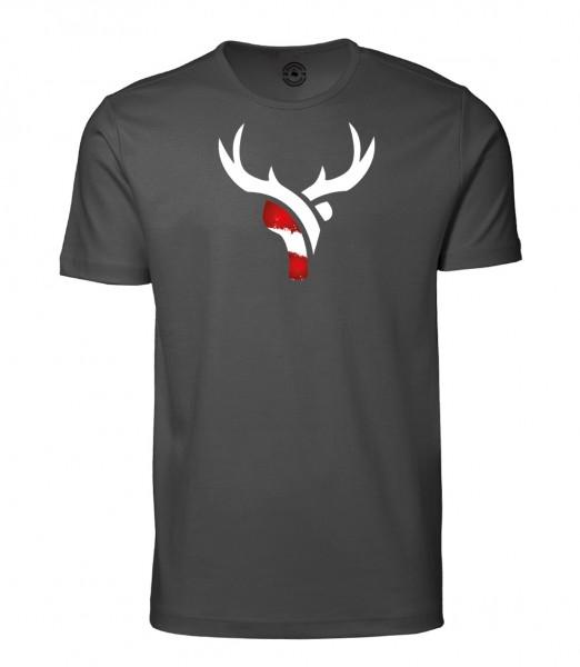Herren Rundhals Shirt | Kurzarm – Interlock Jersey Motiv: Österreich Hirsch