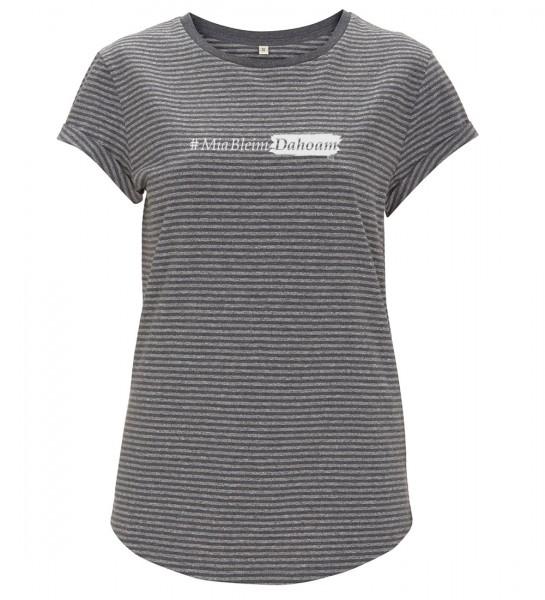 Damen T-Shirt gestreift | Fair Wear | BIO | Motiv: #MiaBleimDahoam