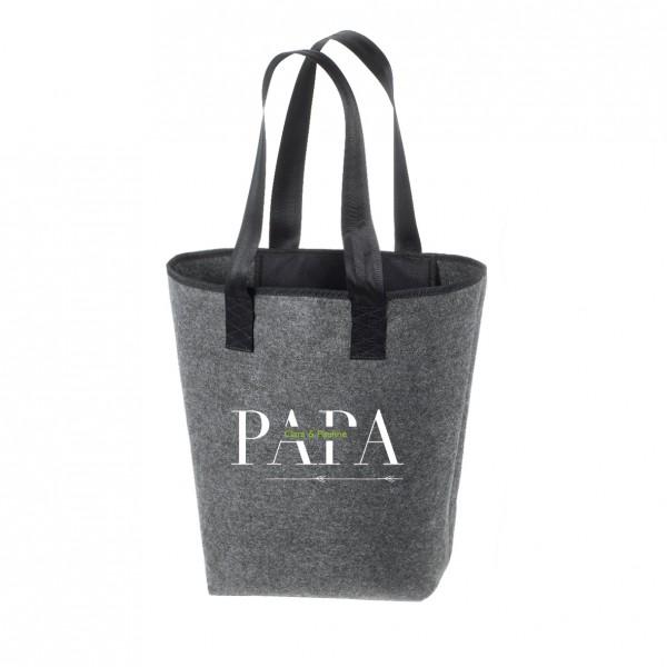 Filz Tasche grau | Hochwertig | Bedruckt mit PAPA - Personalisiert