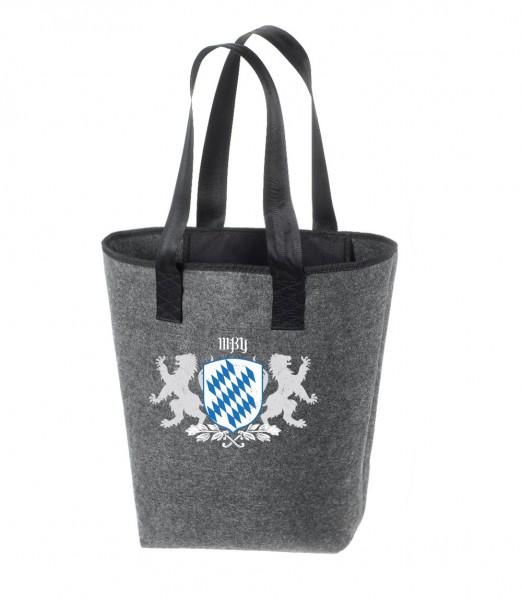 Einkaufstasche Filz groß grau Shopper   Hochwertig   44x26cm Motiv Bayern Wappen (Dahoam)