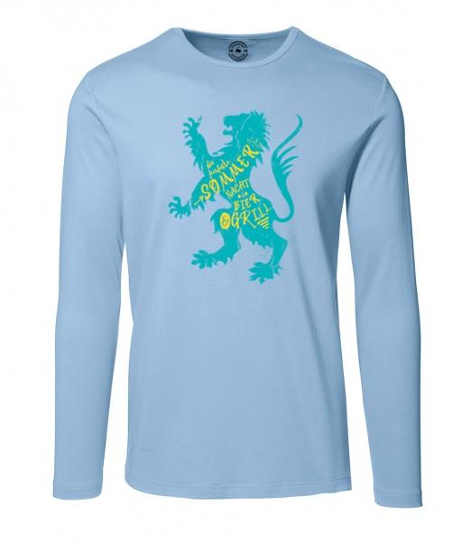 Herren Rundhals Shirt | Langarm – Interlock Jersey Motiv: Sommer in der Stadt