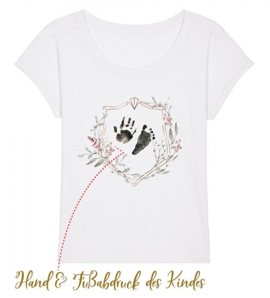 Geburts-Shirt personalisiert Hand & Fußabdruck des Kindes | Fair Wear | BIO | Motiv: Hand & Fuß