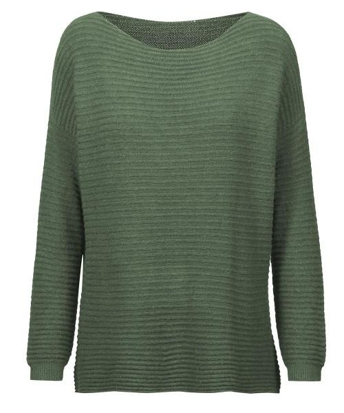 Pullover kurz gerippt | extrem weich & Einheitsgröße | Modell: Kerstin Farbe Olive