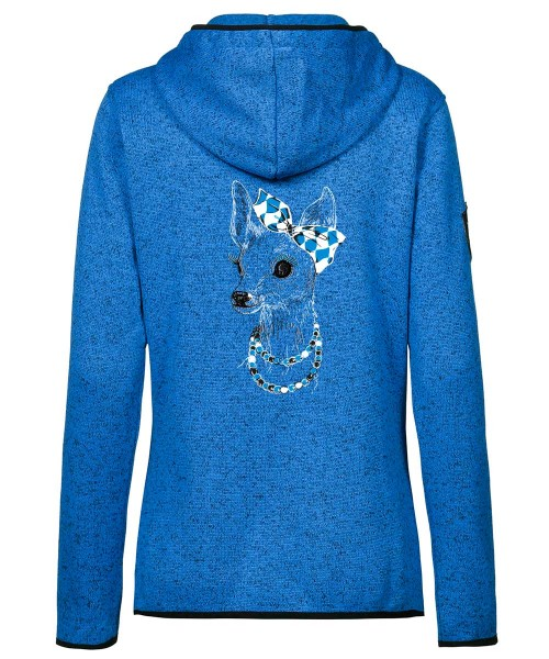 Fleecejacke Kapuze Damen | Active-Style | Motiv: Bixn Royal-Blau