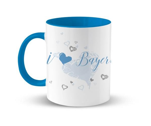 Kaffeetasse I i Love Bayern | Bedruckt | Hellblau