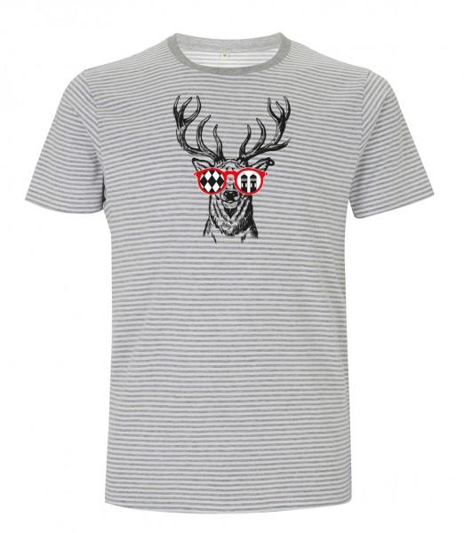 Herren T-Shirt gestreift Motiv: Munich Deer - GOTS zertifiziert / vegan